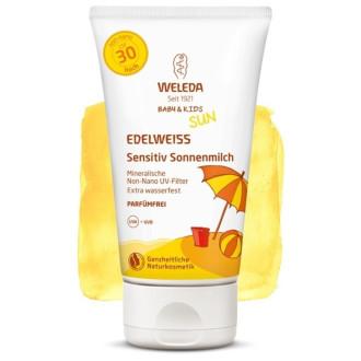 ВЕЛЕДА Слънцезащитен лосион с Еделвайс за чувствителна кожа, подходящ за бебета и деца SPF30 150мл   WELEDA Edelweiss sunscreen lotion, Sensitive, SPF30 150ml
