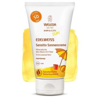 ВЕЛЕДА Слънцезащитен лосион с Еделвайс за чувствителна кожа, подходящ за бебета и деца SPF50 50мл | WELEDA Edelweiss sunscreen lotion, Sensitive, SPF50 50ml