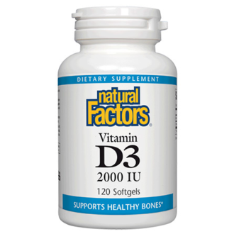 ВИТАМИН Д3 2000 IU 120 софтгел капсули НАТУРАЛ ФАКТОРС | VITAMIN D3 2000 IU 120 softgels NATURAL FACTORS