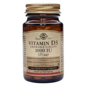ВИТАМИН D3 1000 IU дъвчащ 100бр. СОЛГАР | VITAMIN D3 1000 IU chewable tabs 100s SOLGAR