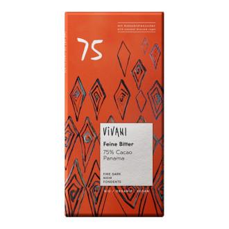 БИО Натурален Шоколад с Кокосов нектар, 75% какао 80гр ВИВАНИ   BIO Dark Chocolate with Coconut nectar, 75% cacao 80g VIVANI