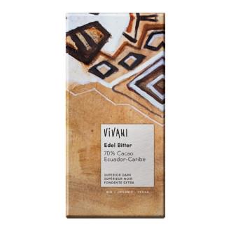 БИО Фин Натурален Шоколад, 70% какао 100гр ВИВАНИ   BIO Fine Dark Chocolate, 70% cacao 100g VIVANI