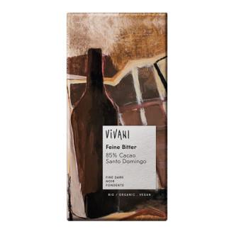 БИО Фин Натурален Шоколад, 85% какао 100гр ВИВАНИ   BIO Fine Dark Chocolate, 85% cacao 100g VIVANI