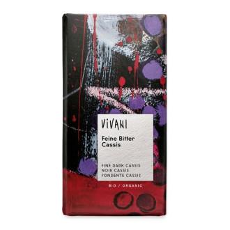 БИО Натурален Шоколад с Касис 100гр ВИВАНИ   BIO Dark Chocolate with Blackcurrant 100g VIVANI