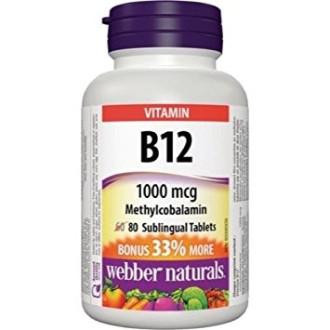 ВИТАМИН Б12 (С удължено освобождаване) 1200мкг 80бр. таблетки УЕБЪР НАТУРАЛС | VITAMIN B12 1200mcg 80s tabs WEBBER NATURALS