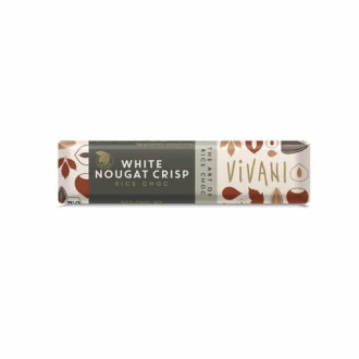 БИО Шоколадов Бар с Оризово мляко и Бяла нуга (веган) 35гр ВИВАНИ   BIO Chocolate Bar with Rice milk and White nougat crisp (vegan) 35g VIVANI