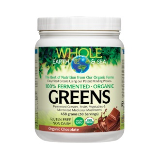 Веган протеин с вкус на шоколад пудра x 438гр ХОУЛ ЪРТ & СИЙ | 100% Fermented Organic Greens with chocolate flavour powder x 438g WHOLE EARTH & SEA