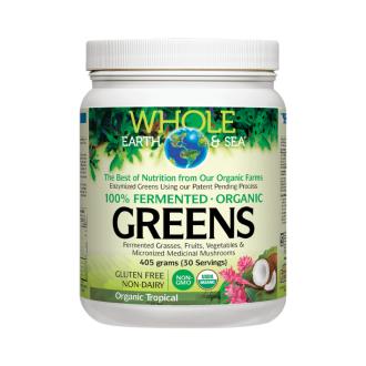 Веган протеин с тропически вкус пудра x 405гр ХОУЛ ЪРТ & СИЙ | 100% Fermented Organic Greens with tropical flavour powder x 405g WHOLE EARTH & SEA