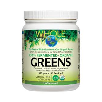 Веган протеин неувкусен пудра x 390гр ХОУЛ ЪРТ & СИЙ | 100% Fermented Organic Greens unflavoured powder x 390g WHOLE EARTH & SEA
