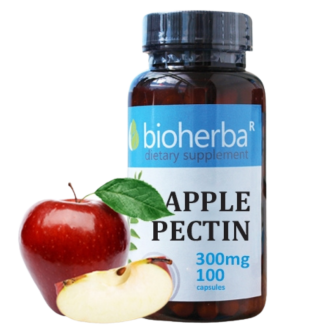 ЯБЪЛКОВ ПЕКТИН 300мг 100 капс. БИОХЕРБА | APPLE PECTIN 300mg 100 caps. BIOHERBA