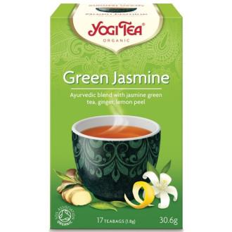"ЙОГИ ОРГАНИК БИО Аюрведичен чай ""Зелен жасмин"", пакетчета 17бр | YOGI ORGANIC BIO Ayurvedic tea blend ""Green jasmine"" teabags 17s"
