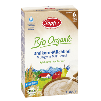 TЬОПФЕР БИО ОРГАНИК Млечна каша с три вида зърна Ябълка и Круша 6+ 200гр   TOPFER BIO ORGANIC Multigrain milk cereal Apple Pear 6+ 200g