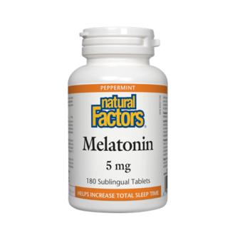 МЕЛАТОНИН 5мг 180 таблетки НАТУРАЛ ФАКТОРС | MELATONIN 5mg 180 tabs NATURAL FACTORS