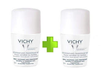 ВИШИ ПРОМО Дезодорант рол-он успокояващ против изпотяване 2x50мл | VICHY PROMO Deodorant soothing anti-perspirant 2x50ml