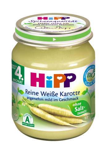 ХИП БИО Пюре Бял морков 4+ м. 125гр.   HIPP BIO White carrot puree 4+ m 125g
