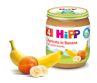 ХИП БИО Пюре Кайсия с банани 4+ м. 125гр. | HIPP BIO Apricot and bananas puree 4+ m 125g