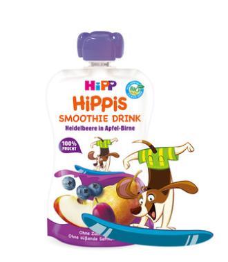 ХИП ХИПИС БИО Смути напитка ябълка и круша с боровинки 12+ м. 120гр. | HIPP HIPPIS BIO Smoothie drink apple pear and blackberries 12+ m 120g