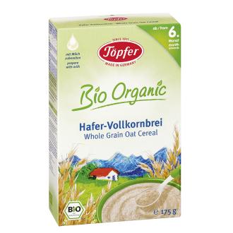 TЬОПФЕР БИО ОРГАНИК Безмлечна каша с пълнозърнест овес 6+ 175гр | TOPFER BIO ORGANIC Whole grain oat cereal 6+ 175g