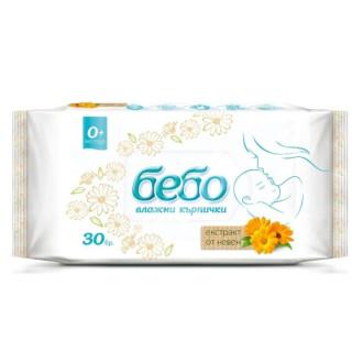 БЕБО Мокри кърпички с Невен 30бр | BEBO Wet Wipes Calendula 30s