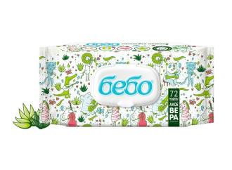 БЕБО Мокри кърпички с екстракт от Алое Вера 72бр | BEBO Wet Wipes with Aloe vera extract 72s