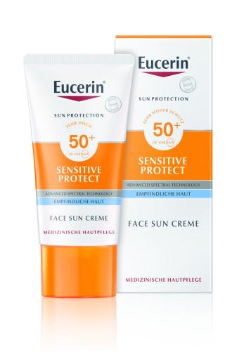 ЮСЕРИН СЪН СЕНЗИТИВ ПРОТЕКТ Слънцезащитен крем за лице SPF50+ 50мл | EUCERIN SUN SENSITIVE PROTECT Creme face SPF50+ 50ml