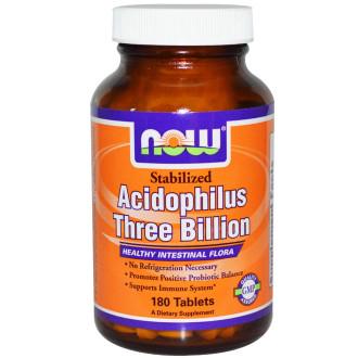 АЦИДОФИЛУС СТАБИЛИЗИРАН 3 МИЛИАРДА таблетки 180 бр. НАУ ФУУДС   ACIDOPHILUS STABILIZED 3 BILLION tabs 180s NOW FOODS