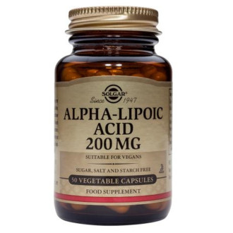 АЛФА-ЛИПОЕВА КИСЕЛИНА 200мг раст. капсули 50 бр. СОЛГАР | ALPHA LIPOIC ACID 200mg veg.caps 50s SOLGAR