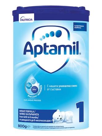АПТАМИЛ 1 с Pronutra+ Мляко за кърмачета 0-6 м. 800гр. | APTAMIL 1 with Pronutra+ Infant formula 0-6 m 800g