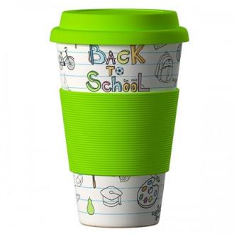 ЕКО ЧАША ОТ БАМБУК Отново на училище Зелена 400мл. БАЛЕВ БИО   ECO BAMBOO CUP Back to school Green 400ml BALEV BIO
