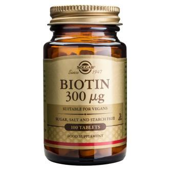 БИОТИН 300мг таблетки 100бр. СОЛГАР | BIOTIN 300mg tabs 100s SOLGAR