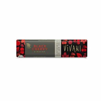 БИО Натурален Шоколадов Бар с Вишни (веган) 35гр ВИВАНИ | BIO Dark Chocolate Bar with Cherries (vegan) 35g VIVANI