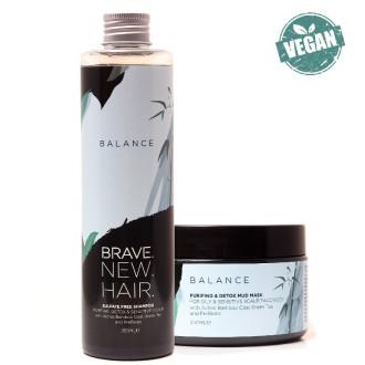БРЕЙВ НЮ ХЕЪР БАЛАНС КОМПЛЕКТ Шампоан за мазна коса и пърхот 250мл + Маска за мазна коса и пърхот 250мл   BRAVE NEW HAIR BALANCE KIT Purifing & detox shampoo 250ml + Purifing & detox mud mask 250ml