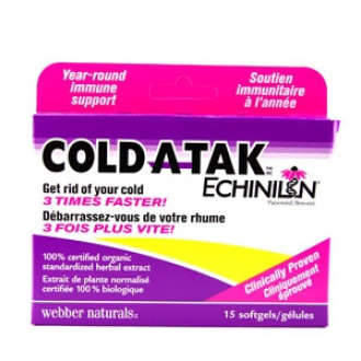 ГЪРЛО И СИНУСИ Cold-A-Tak® Echinilin® 250мг. 15бр. дъвчащи софтгел капсули УЕБЪР НАТУРАЛС | THROAT+SINUS Cold-A-Tak® Echinilin® 250mg 15s chewable softgels WEBBER NATURALS