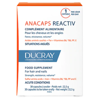 АНАКАПС РЕАКТИВ За коса и нокти 30бр. капсули ДЮКРЕ | ANACAPS REACTIV Hair & Nails 30s caps DUCRAY