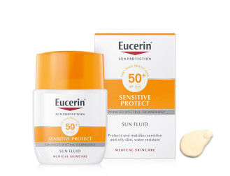ЮСЕРИН СЪН СЕНЗИТИВ ПРОТЕКТ Слънцезащитен матиращ флуид за лице SPF50+ 50мл | EUCERIN SUN SENSITIVE PROTECT Fluid mattifying face SPF50+ 50ml