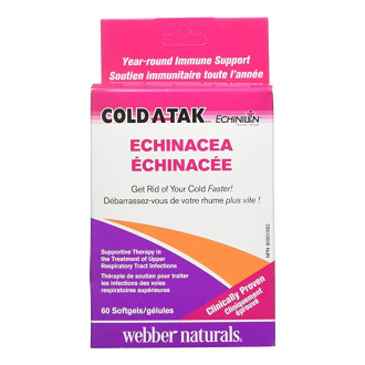 ГЪРЛО И СИНУСИ Cold-A-Tak® Echinilin® 250мг. 60бр. дъвчащи софтгел капсули УЕБЪР НАТУРАЛС | THROAT+SINUS Cold-A-Tak® Echinilin® 250mg 160s chewable softgels WEBBER NATURALS