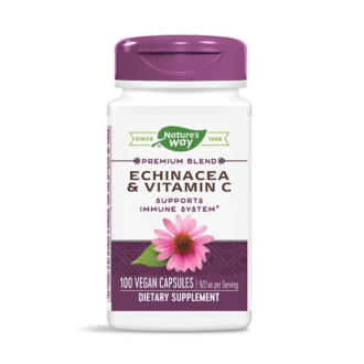 ЕХИНАЦЕЯ И ВИТАМИН Ц 461мг раст. капс. 100бр. НЕЙЧЪР'С УЕЙ | ECHINACEA AND VITAMIN C 461mg veg. caps. 100s NATURE'S WAY