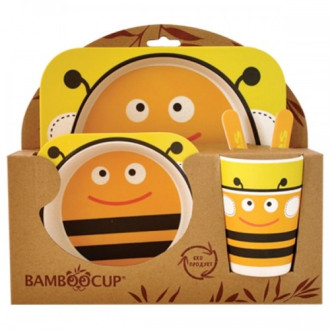 ЕКО ДЕТСКИ КОМПЛЕКТ ЗА ХРАНЕНЕ ОТ БАМБУК Пчела 5 части БАЛЕВ БИО | ECO BAMBOO KIDS DINNERWARE SET Bee 5 pieces BALEV BIO