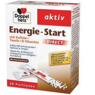 ЕНЕРДЖИ - СТАРТ + Кофеин, Таурин и Б витамини 20бр. сашета ДОПЕЛХЕРЦ | ENERGY - START + Caffeine, Taurine, B vitamins 20s sachets DOPPELHERZ