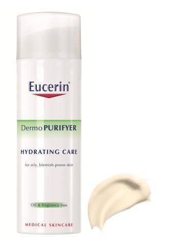 ЮСЕРИН ДЕРМОПУРИФЕЪР Хидратиращ крем за акнеична кожа 50мл   EUCERIN DERMOPURIFYER Hydrating face cream for blemish prone skin 50ml