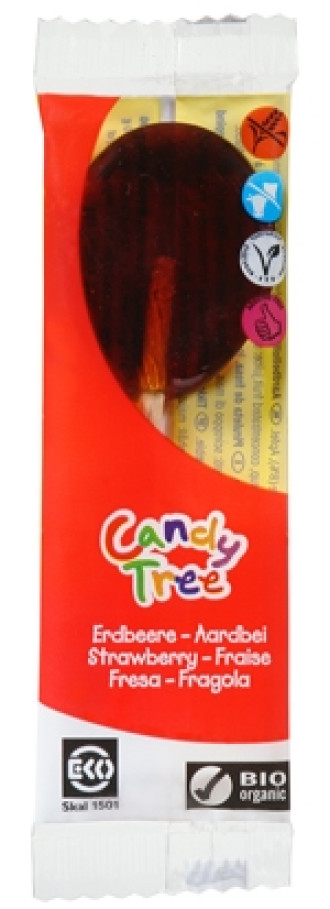 БИО Близалка Ягода 1бр x 13гр КЕНДИ ТРИ | BIO Lollipop Strawberry 1s x 13g CANDY TREE
