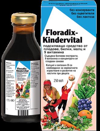 КИНДЕРВИТАЛ Детски Мултивитамини 250мл ФЛОРАДИКС | KINDERVITAL 250ml FLORADIX