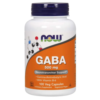 ГАБА 500мг + В6 капсули 100 бр. НАУ ФУУДС | GABA 500mg + B6 caps 100s NOW FOODS