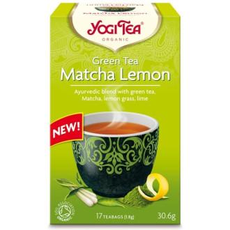 """ЙОГИ ОРГАНИК БИО Аюрведичен зелен чай """"Матча и Лимон"""", пакетчета 17бр   YOGI ORGANIC BIO Ayurvedic green tea blend """"Matcha Lemon"""" teabags 17s"""