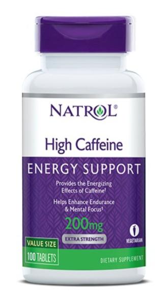 ВЪРХОВЕН КОФЕИН 200мг таблетки 100 бр. НАТРОЛ | HIGH CAFFEINE 200 mg tabs 100s NATROL