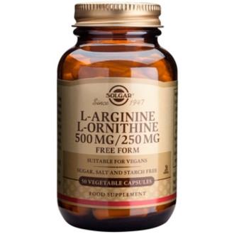 Л-АРГИНИН-Л-ОРНИТИН 500мг, растителни капсули 50бр. СОЛГАР | L-ARGININE-L-ORNITHINE 500mg, veg. caps. 50s SOLGAR