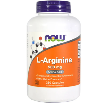 Л-АРГИНИН 500мг капсули 250 бр. НАУ ФУУДС | L-ARGININE 500mg caps 250s NOW FOODS