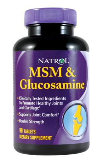 МСМ / ГЛЮКОЗАМН ДВОЙНА СИЛА таблетки 90 бр. НАТРОЛ | MSM / GLUCOSAMINE DOUBLE STRENGTH tabs 90s NATROL