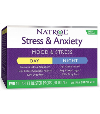 СТРЕС И БЕЗПОКОЙСТВО ДЕН + НОЩ таблетки 10 + 10 бр. НАТРОЛ | STRESS & ANXIETY DAY + NIGHT tabs 10s + 10s NATROL