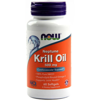 НЕПТУН МАСЛО ОТ КРИЛ 500мг меки капсули 60 бр. НАУ ФУУДС | NEPTUNE KRILL OIL 500mg softgels 60s NOW FOODS